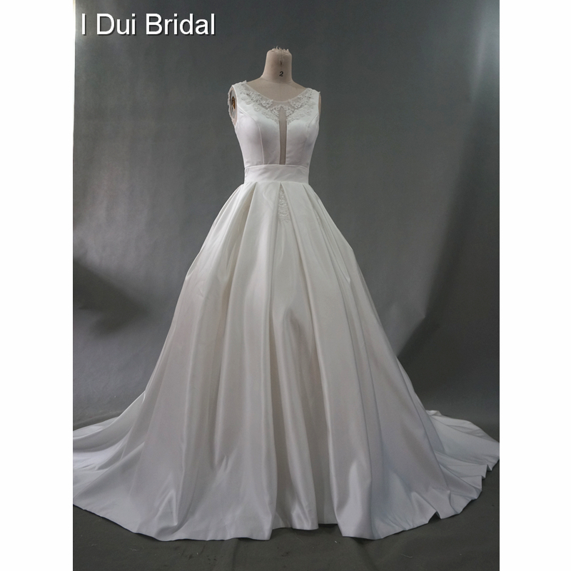 91a857642d9 Illusion Neck Real Wedding Dresses Keyhole Back Satin Beaded Ball Gown  Chapel Train Pocket High Quality Factory Custom Make