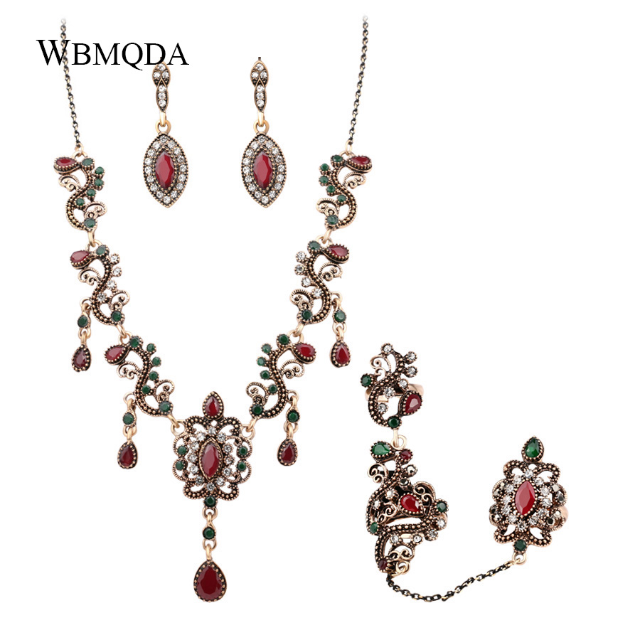 HTB1JTjYe JYBeNjy1zeq6yhzVXa9 - 4Pcs/lot Boho Turkish Jewelry Sets Vintage Red Necklace Bracelet Earrings Ring Set Indian Crystal Antique Gold Wedding Jewellery