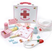 Деревянный Набор для доктора, Детские больничные медицинские аксессуары, оборудование для медсестры, ролевые игры, сумка для доктора, косплей, клиника, медицинская сумка