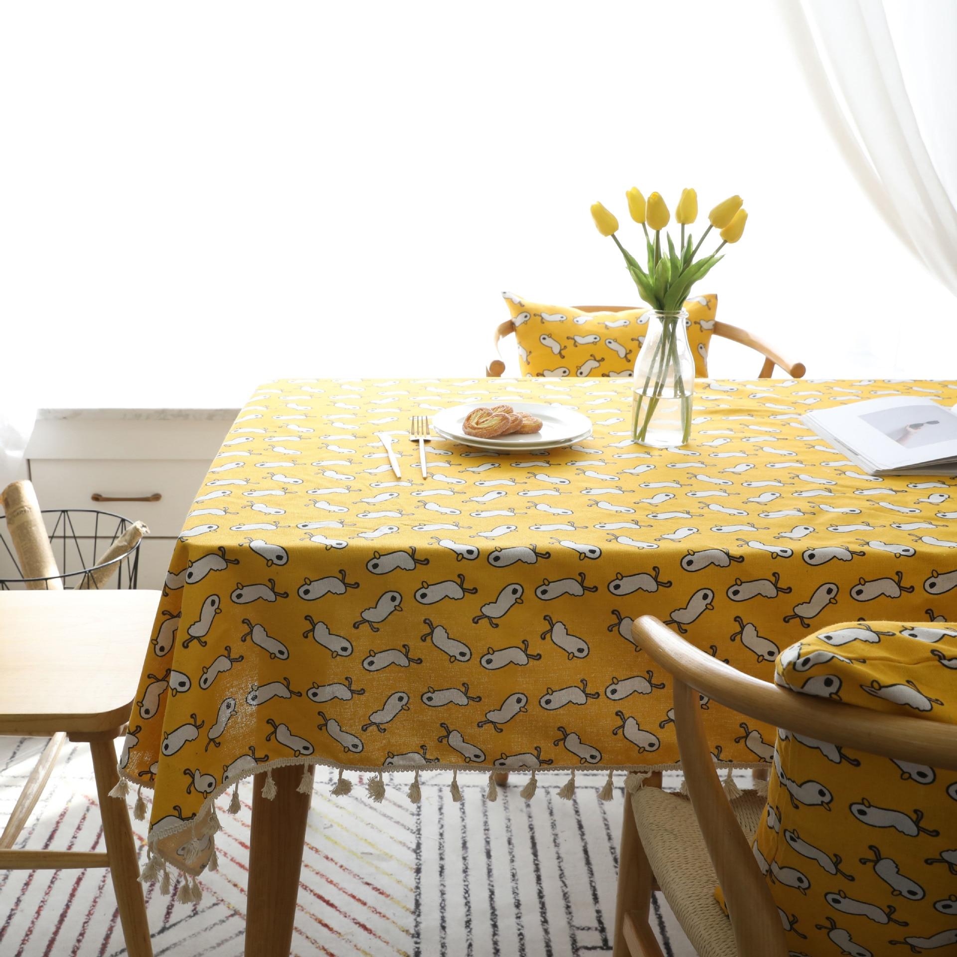 Terrific Nordic Yellow Little Duck Cotton Linen Table Cloth Tassels Pabps2019 Chair Design Images Pabps2019Com