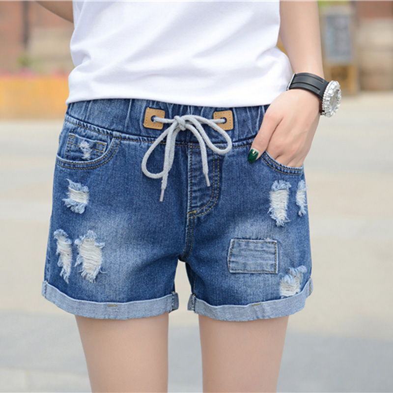 ФОТО Free Shipping The New 2017 Holes Of Tall Waist Elastic Denim Shorts Female Hot Loose Big Yards Wide Leg Pants