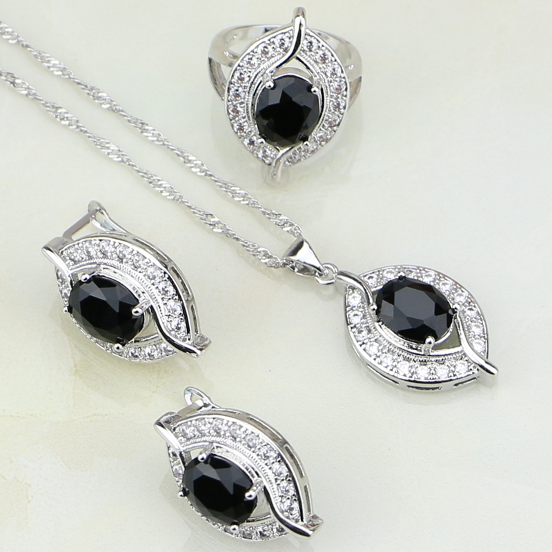 Eye Shaped Black Cubic Zirconia White Zircon 925 Sterling Silver Jewelry Sets For Women Wedding Earrings/Ring/Pendant /Necklace