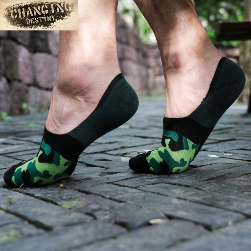 Mens Socks Fashion Cotton Invisible Boat Socks Camouflage Shallow Mouth Breathable Summer Thin Sock