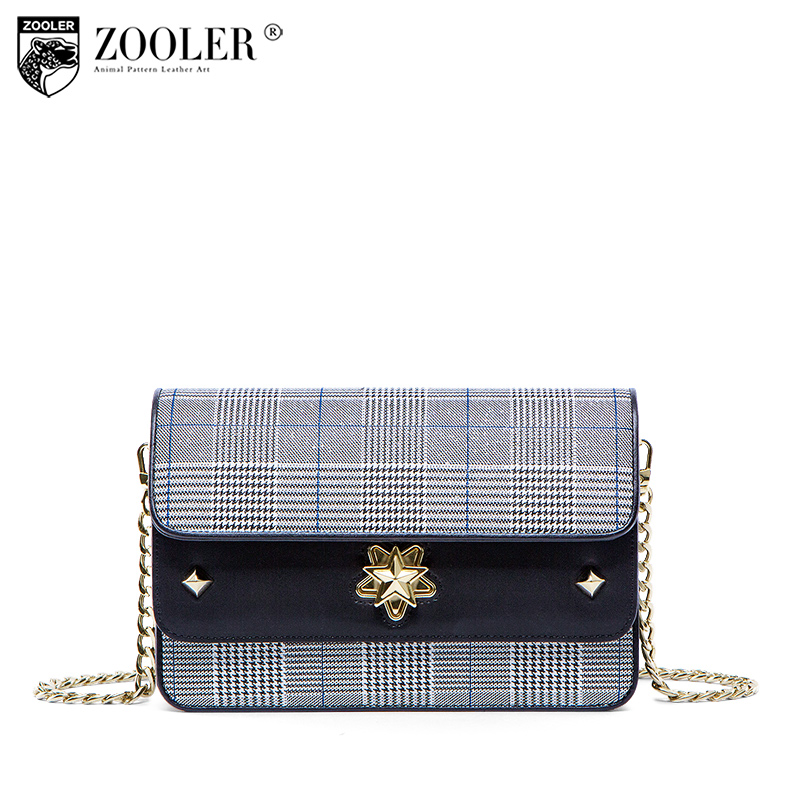Limited !2018 NEW genuine leather bag woman bag ZOOLER skin shoulder bags houndstooth pattern woman bags bolsa feminina#R139 new zooler woman leather bags stars pattern luxury handbags bags woman famous brand designer shoulder bag bolsa feminina p113
