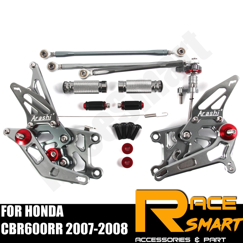 FOR HONDA CBR600RR 2007 2008 CBR-600RR CBR 600 Rear Footrests Foot Rest Pegs Pedal Motorcycle Accessories CNC Adjustable Rearset