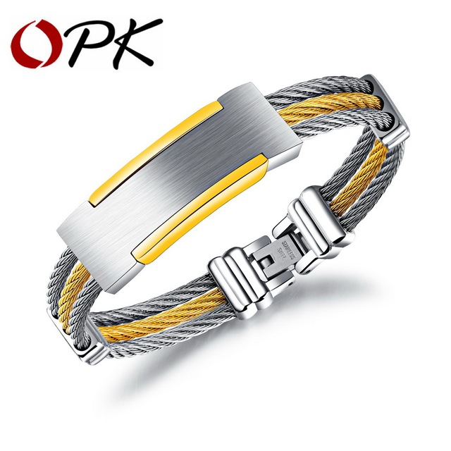 OPK Simple Wire Rope ID Bracelet & Bangle For Men Multilayer ...