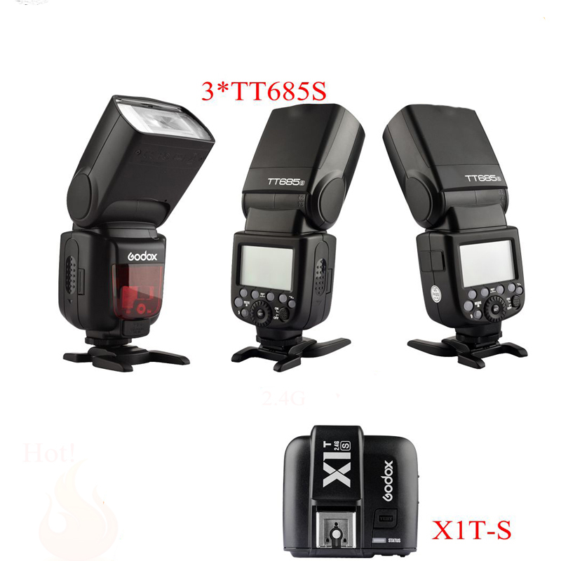 Flash 3 шт. Godox GN60 TT685S 2.4 Г HSS TTL Вспышка Speedlite + X1S TTL Transmitter Flash Триггера kit для Sony