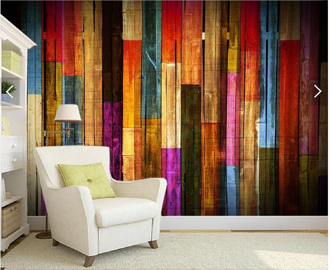 Free Shipping Beautiful wood color stripe fashion retro TV background mural wallpaper