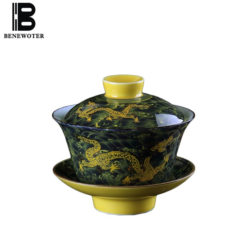 250cc Chinese Style Hand Painted Dragon Pattern Gaiwan Vintage Ceramic Tea Bowls with Lid Saucer Kit Master Teapot Birthday Gift