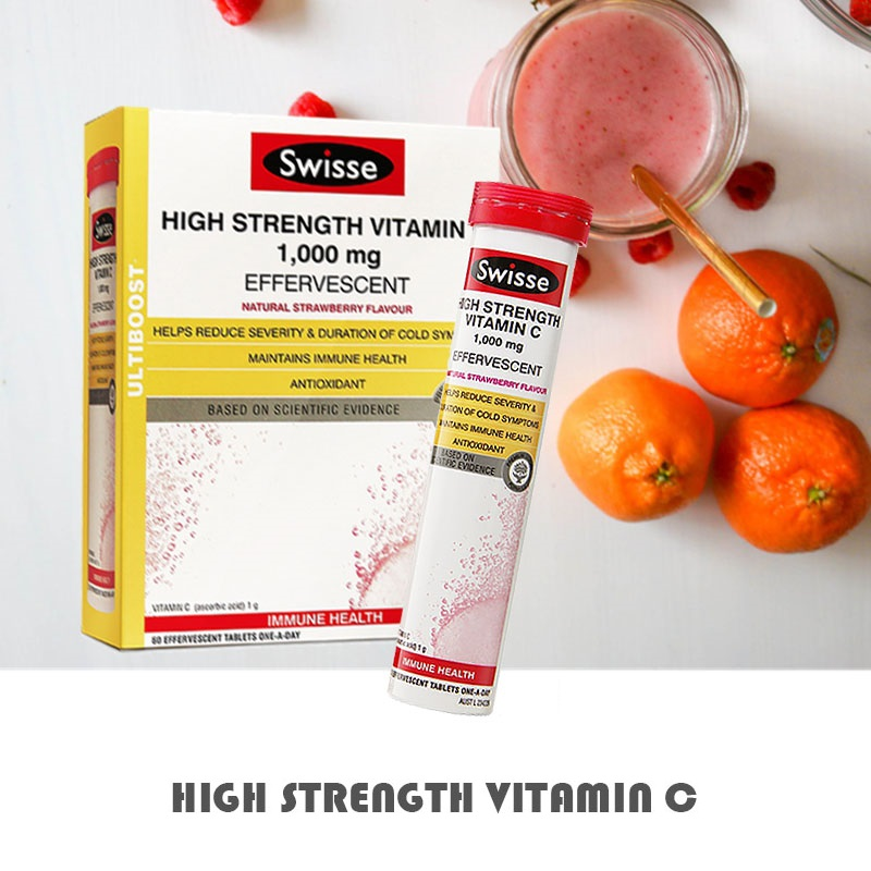 Swisse High Strength Vitamin C 60 Effervescent Tablets Support Immune Function Reduce Severity Skin Health Antioxidant