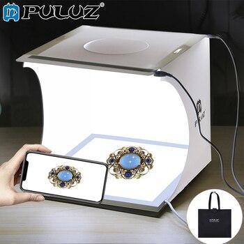 PULUZ 20 cm Mini boîte à photos Studio lampe sans ombre panneau de lampe Pad + Studio de tir tente blanc boîte à lumière boîte de tente Kit