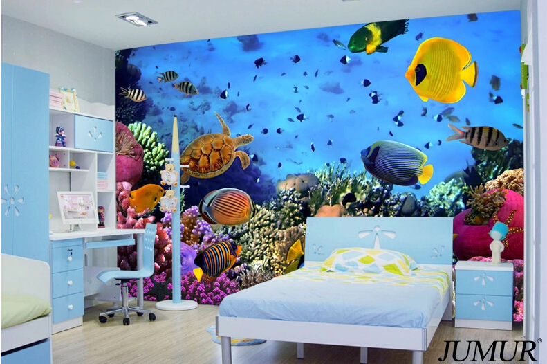 2015 new arrival 3d ocean world wallpaper fish for kids for Kids room wall paper