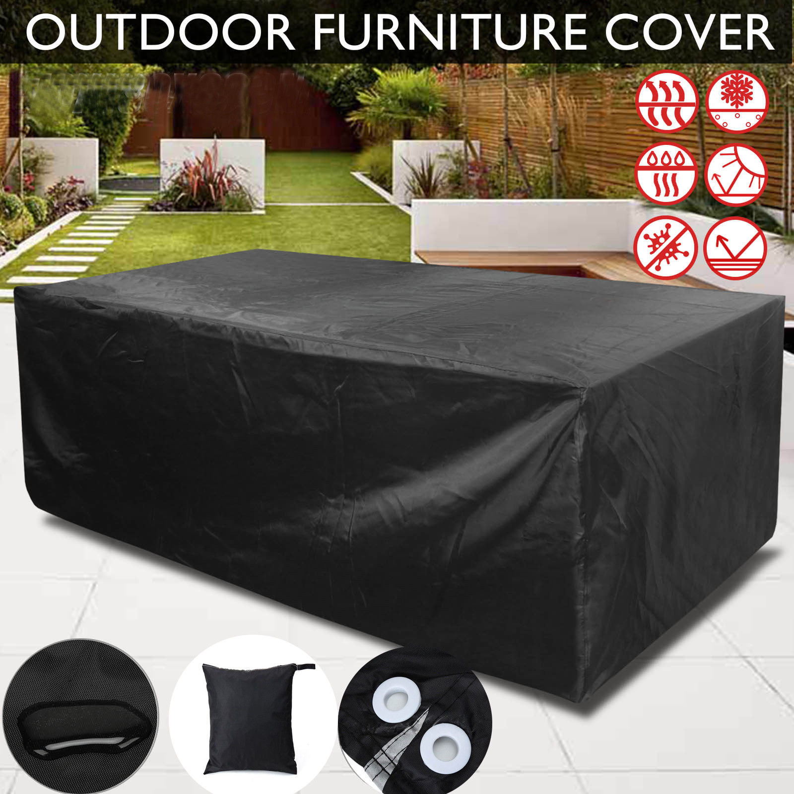 Waterproof Garden Furniture Newest arrivals faroot 2018 garden outdoor furniture rain cover 4 size waterproof outdoor patio garden furniture rain snow chair black covers for table chair housse workwithnaturefo