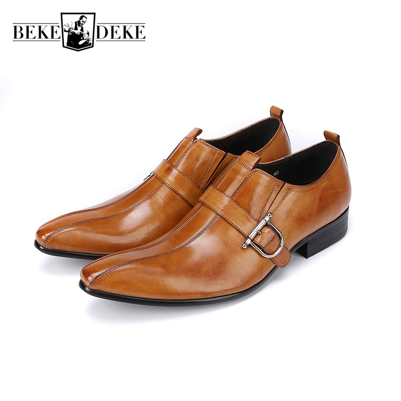 Classic Pointed Toe Block Low Heel Mens Business Formal Shoes Slip On Loafers Buckle Genuine Leather Dress Shoes Prom Oxfords choudory mens silver flat wedding shoes genuine leather slip on men loafers shoes pointed toe dress shoes