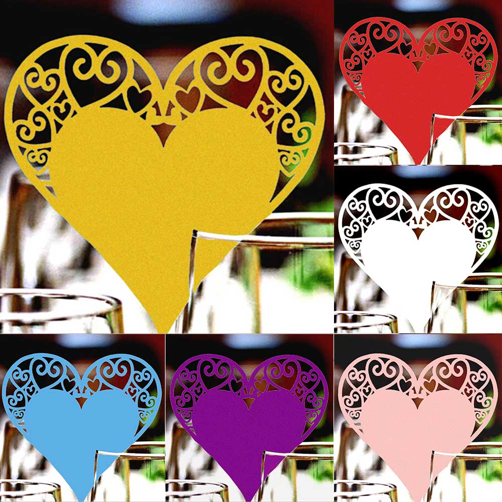 50Pcs/Pack! Wedding Table Decoration Place Cards Laser Cut Heart Floral Wine Glass Place Cards For Wedding Party Decoration