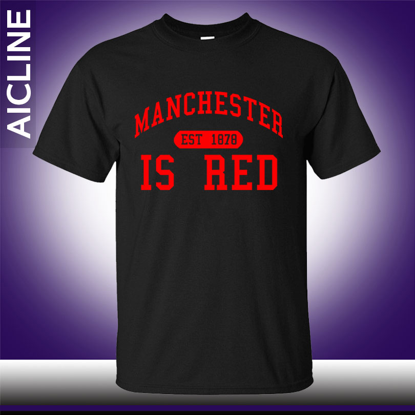 New <font><b>United</b></font> Kingdom Red Letter Print T Shirt Men Cotton O-Neck <font><b>Manchester</b></font> Tee Shirts Camisa Masculina tee