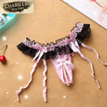 Fashion New Sexy Garter Belt for Stocking Black Lace Suspender Belts Women Open Crotch Pearl Panties Bow Lingerie Garters