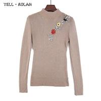 YELL ROLAN 2017 Fashion Women Turtleneck Pullover Sweater Long Sleeve National Wind Beading Knitwear OL Business