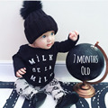 2017 New Autumn baby boy girl clothes long-sleeved black letter T-Shirt+fashion pants 2pcs newborn baby clothing set