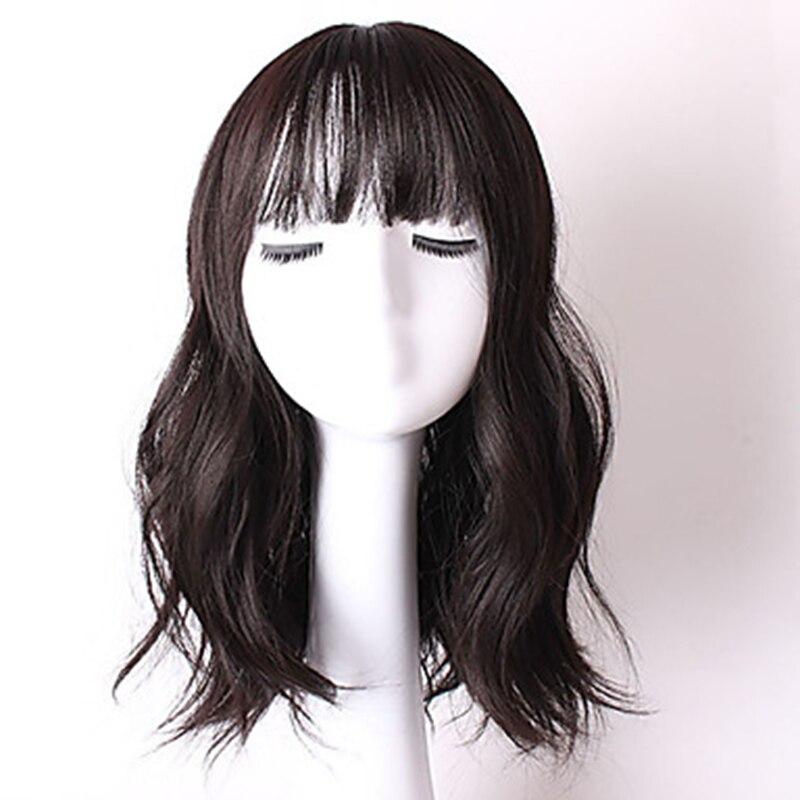 дешево✲  HAIRJOY Синтетический Парик Женщины Натуральная Волна Волос Полный Челка Натуральный Черный  Лучши