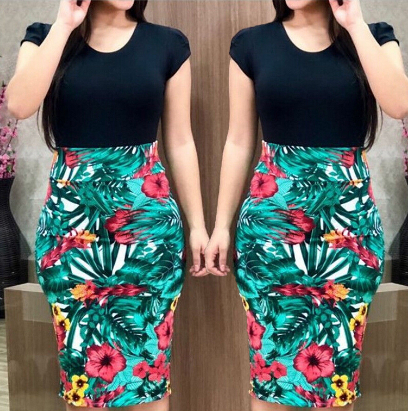 HTB1JTlGXLLsK1Rjy0Fbq6xSEXXal Women Dresses Short Sleeve Floral Print Patchwork Slim Bodycon Dress Cocktail Party Pencil Dress