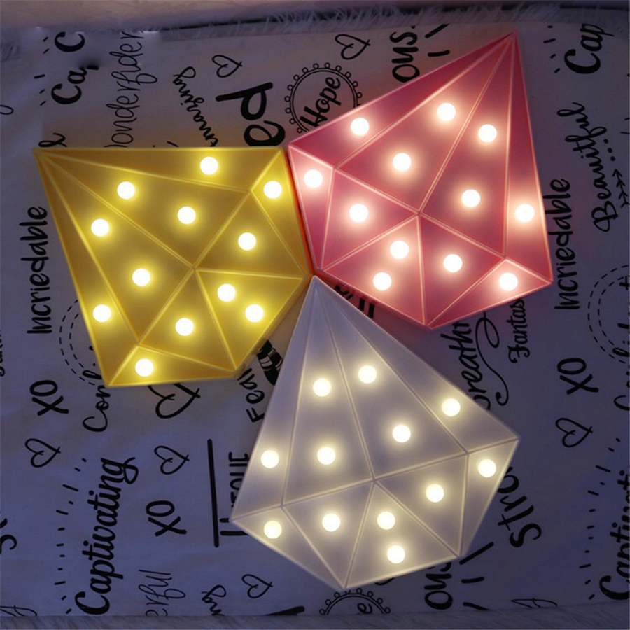 3Color LED Night Light Diamond Letter Light Novelty Luminaria Marquee Lamp With 12LED Battery Operated Nightlight For Home Decor
