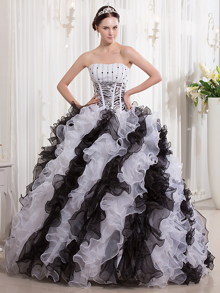 Cecelle 2016 real gothic black and white ball gown wedding dresses cecelle 2016 real gothic black and white ball gown wedding dresses with color ruffles colorful bridal gowns non traditional in wedding dresses from weddings mightylinksfo