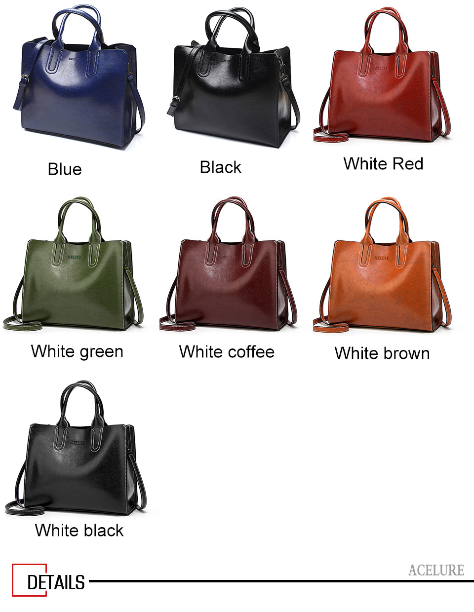 ACELURE Leather Handbags Big Women Bag High Quality Casual Female Bags Trunk Tote Spanish Brand Shoulder Bag Ladies Large Bolsos 11