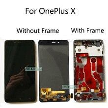 Original preto/branco 5.0 polegada para oneplus x e1001 e1003 display lcd de vidro da tela toque digitador assembléia substituição com quadro