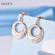 GULICX Unique Luxury Trendy Annual Circle Design Full Mirco Paved Crystal Zircon Wedding Drop Earring Fashion Jewelry Party