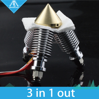 Brass Color Nozzle 3 IN 1 E3D V6 Long Distance Heatsink OUT 0 4mm For 1