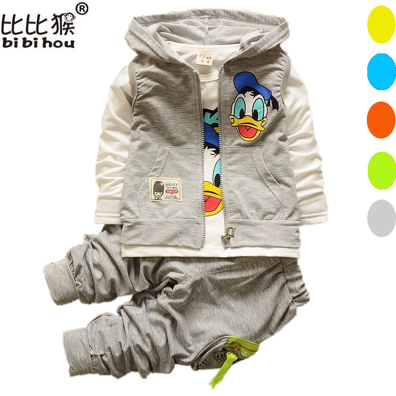 Baby Kids Clothes Set Boys Girls Cartoon Donald Duck Hooded Vest T Shirt Pants 3pcs Suits Jacket Children Sport Clothing Sets baby fashion clothing kids girls cowboy suit children girls sports denimclothes letter denim jacket t shirt pants 3pcs set 4 13