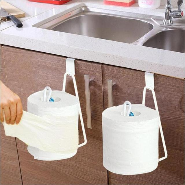 Creative Toilet Roll Paper Holder Door Back Hanging Towel Tissue Rack Kitchen Cupboard Storage