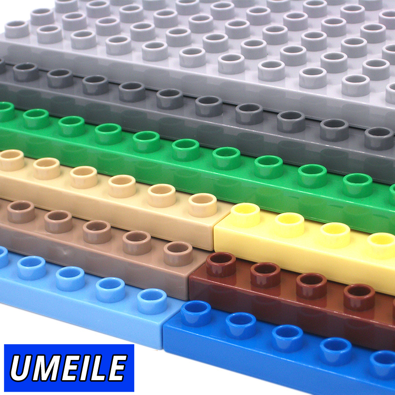 UMEILE 9 Colors 8*16 Dots 25.6*12.5cm Large Particle Building Blocks Classic Baseplate Diy Plate Kids Toys Compatible with Duplo role family worker figure character large particle building blocks original accessory toys compatible with duplo diy kids gift