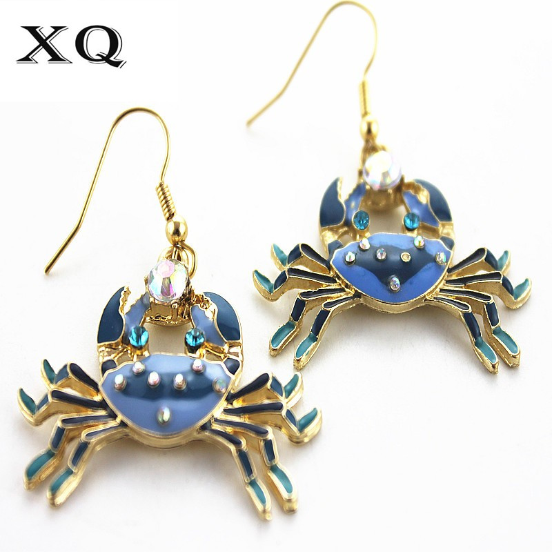 XQ 2016 Free shipping New fashion fine jewelry alloy compact blue crab woman ear hook The party act the role ofing is tasted