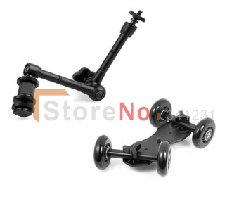 2 in 1 11 Adjustable Friction Articulating Magic Arm + Black Mini Desktop Camera Rail Car Table Dolly Car Video Slider image