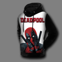 [XHTWCY]Autumn Winter 3D Print Comic Badass Marvel Sweatshirt Deadpool Hoodie Men Anime Pullover Fleece Lined Coat