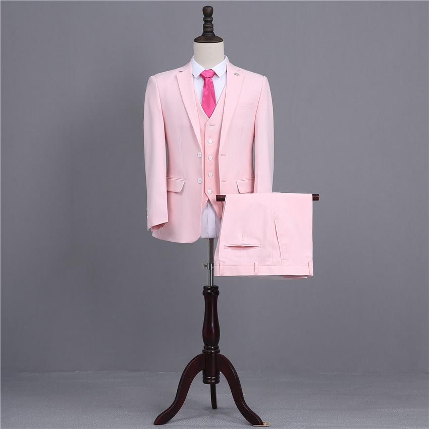 Tres Piezas de Los Hombres Trajes de Color Rosa Desgaste Novio ...