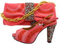 2017 Charming Italian Shoes With Matching Bags Rhinestones Coral High Quality African Shoes And Bags Set Size 38-43 MM1029