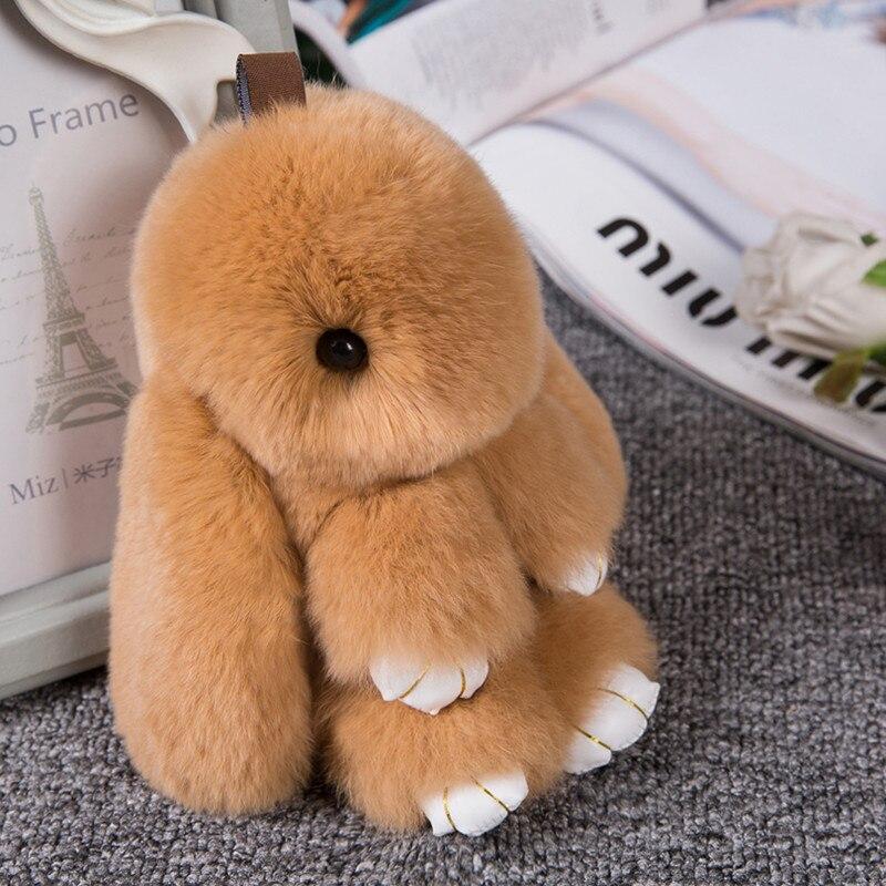 2017 Lindo Fluffy Bunny Llavero juguetes de Peluche Mujeres Baratija - Juguetes para niños - foto 2