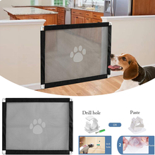 New Dog Gate The Ingenious Mesh Magic Pet Gate For Dogs Indoor Safety Guard and Install Pet Dog Safety Enclosure Dog Fences D20 недорого