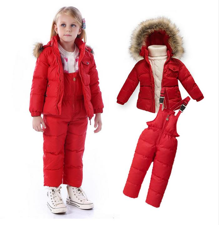 2PCS/Set Kids Clothes (Down Jacket +Rompers)Sport ski suit Girls Boys Clothes Toddler Baby tracksuit Winter children clothing стоимость