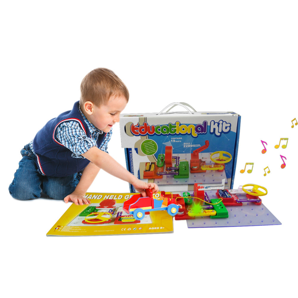 New Electronic Building Blocks Discovery Kit Electronic Toy DIY Assembly Children Science Education Toy keyes kt0044 electronic blocks kit