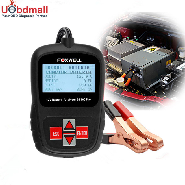 Multi-language Foxwell BT100 Pro 12V Car Battery Analyzer 1100CCA Automotive Battery Analyzer Battery Tester For Detect Bad Cell