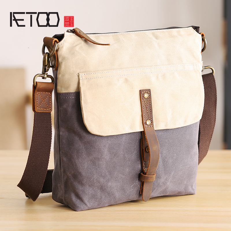 AETOO Single Shoulder bag mens canvas art retro crossbody bag casual trend men and women waterproof small bagAETOO Single Shoulder bag mens canvas art retro crossbody bag casual trend men and women waterproof small bag