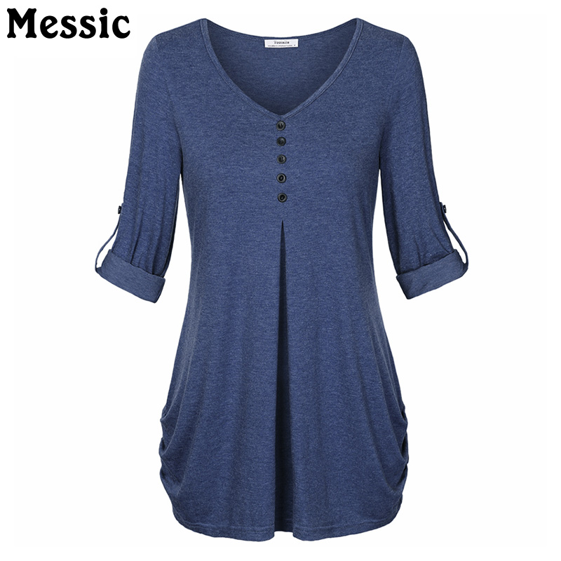 Rolled Up Long Sleeve Snug T Shirt Women 2018 Summer V Neck Tee Shirt Femme Buttons Elegant Tunic Long Female T-shirt Tops v neck long sleeve texture t shirt