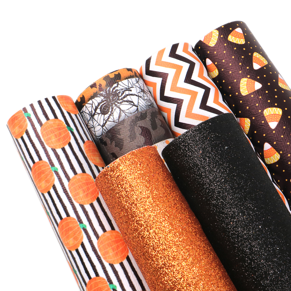 David Angie 6pcs/set 20*34cm Halloween Printed Glitter Faux Synthetic Leather Fabric Set DIY Hairbow Bag Materials,1Yc6892