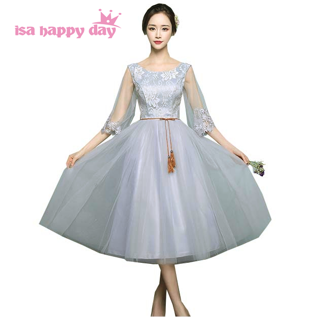 short dress tulle o neck sweetheart illusion sleeves gray tea bridesmaid ball gown maid of bride dresses for weddings H4089