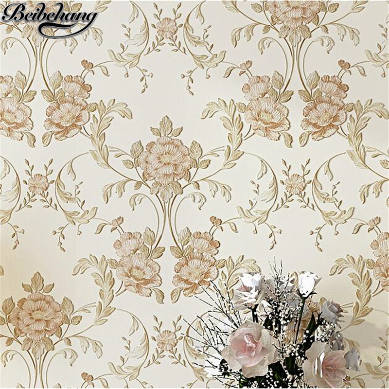 beibehang Wallpapers American Pastoral Romantic Bedroom Living Room TV Background Wallpaper Deep Embossed Nonwovens wall paper beibehang pastoral wall paper bedroom