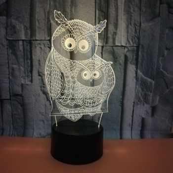 Illusion Usb Lampe Led Light Night 3d Coloré Hibou Tactile rdoCBWxe